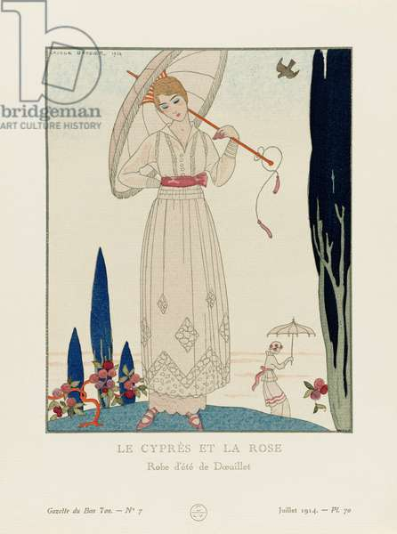 Le Cypres et la Rose, Summer dress by Georges Doeuillet, Art-deco fashion, for the Gazette du Bon Ton, a Parisian fashion magazine published between 1912-15 and 1919-25