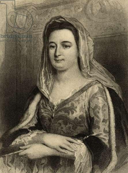 Francoise d'Aubigne (1635-1719) Madame de Maintenon (litho)