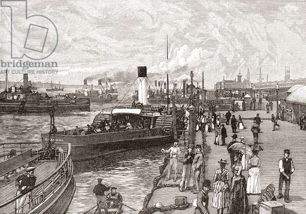 George's Landing Stage, Liverpool, Lancashire, England in the 19th century.  From Cities of the World, published c.1893.