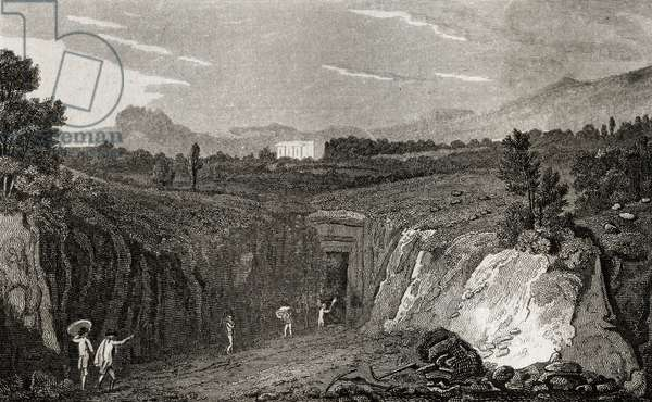 Excavation leading to the remains of Herculaneum (engraving)