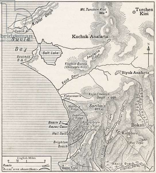 Map showing approximately the semicircular foothold of the Australians and New Zealanders above ANZAC Cove in July 1915, from 'The Great World War: A History', volume III, 1916 (litho)