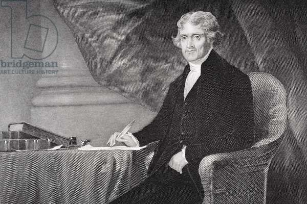 Portrait of Thomas Jefferson (1743-1826) (litho) (detail of 254737)