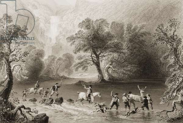 Taking a Stag near Derrycunnihy Cascade, County Kerry, Ireland, from 'Scenery and Antiquities of Ireland' by George Virtue, 1860s (engraving)