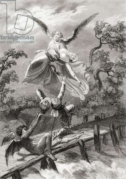Amina is carried away by an angel whilst the devil captures the Sacristan of Albaicin (litho)