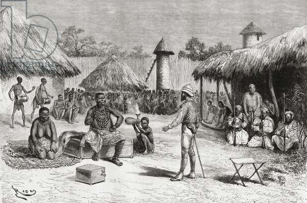 Reception for explorer Pietro Paolo Savorgnan di Brazza in Chief Ketimkuru's house, Uemba, Central Africa, from 'Africa Pintoresca', published 1888 (engraving)