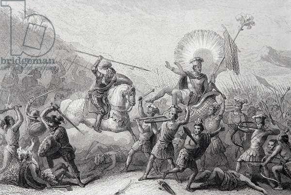 Battle of Otumba, Mexico, 7 July 1520 (engraving)