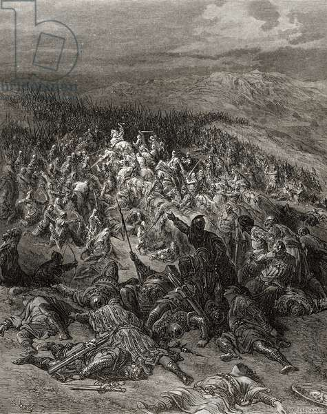 Two Hundred Knights attack Twenty Thousand Saracens, illustration from 'Bibliotheque des Croisades' by J-F. Michaud, 1877 (litho)