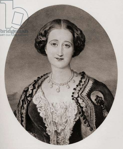 "Maria Eugenia Ignacia Augustina Palafox de Guzman Portocarrero & Kirkpatrick 9th Countess of Teba 1826-1920. Empress Eugenie Consort of France  wife of Napoleon III  From the miniature by Sir W.K.Ross at Windsor Castle.From the book ""The Letters of Queen Victoria 1854-1861 Vol III"" published 1907."
