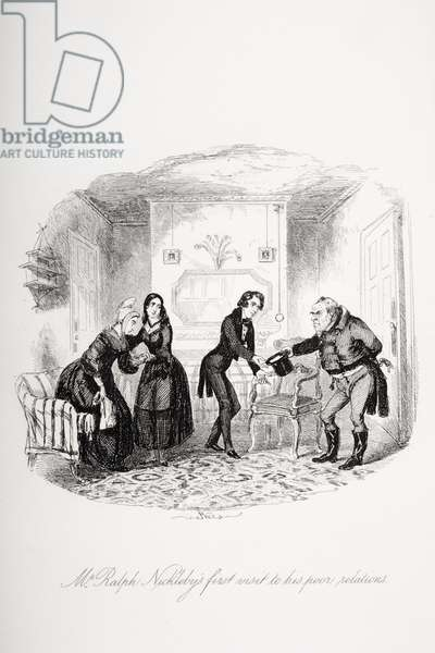 Mr. Ralph Nickleby's first visit to his poor relations, illustration from `Nicholas Nickleby' by Charles Dickens (1812-70) published 1839 (litho)