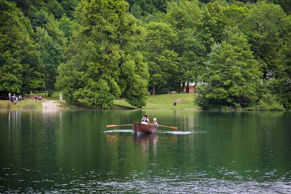 Rowing in a hired boat on one of the Park's 16 lakes, Plitvice Lakes National Park, Lika-Senj County & Karlovac County, Croatia, Lakeside (photo)