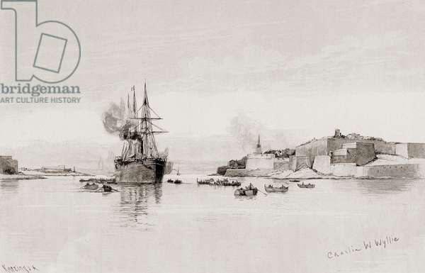 """P & O steamer entering the Quarantine Harbour, Malta, by Charles William Wyllie (1859-1923) from """"The Picturesque Mediterranean"""" circa 1890"""