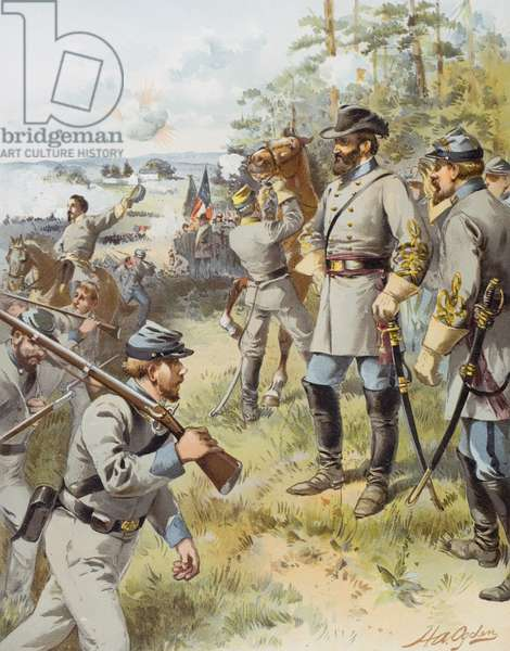 General Stonewall Jackson at the First Battle of Bull Run, 17th August, 1861 (colour litho)