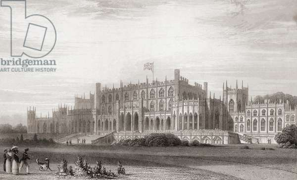 Eaton Hall, Cheshire, England in the early 19th century.   From Churton's Portrait and Lanscape Gallery, published 1836.