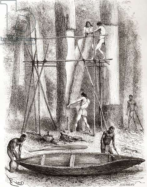 Native Indians building a canoe on the banks of the Oyapock or Oiapoque River, South America (engraving)