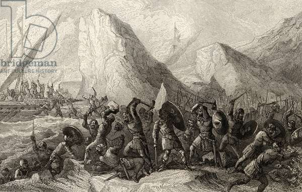 The Normans are destroyed on the Galician coasts of Spain in c.969 (engraving)