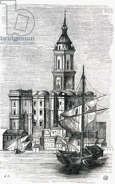 Malaga Cathedral, Spain, mid-1800s (engraving)