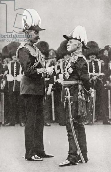 Lord Kitchener, left, with Lord Roberts.  Field Marshal Horatio Herbert Kitchener, 1st Earl Kitchener, 1850 – 1916. British Field Marshal.  Field Marshal Frederick Sleigh Roberts, 1st Earl Roberts, 1832 – 1914.  British Field Marshal and commander.   From Field Marshal Lord Kitchener, His Life and Work for the Empire, published 1916.