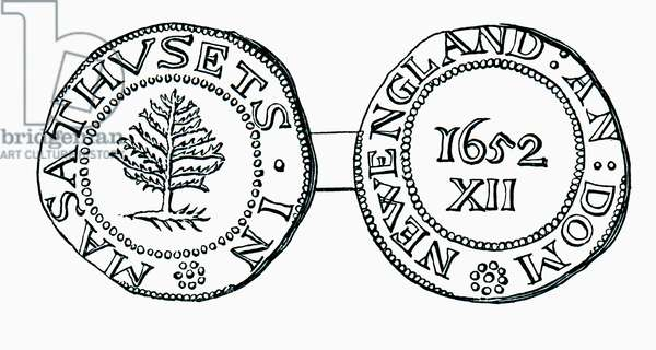 The pine-tree shilling, currency in the province of Massachusetts Bay in 1652, from the book Short History of the English People by J.R. Green, pub. London 1893