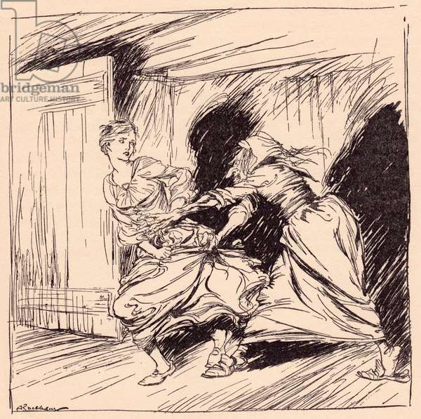 The old woman seized her by the gown and tried to hold her fast.  Illustration by Arthur Rackham from Grimm's Fairy Tale, The Enchanted Tree.