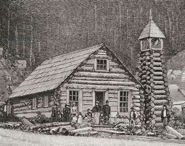 The Klondike Presbyterian Church at Juneau, Alaska,  founded in 1877.  From The Strand Magazine published 1897.