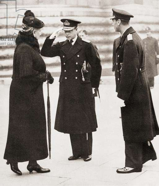 Armistice Day, 1936. King Edward VIII, centre, greets his mother Mary of Teck, seen here as a widow