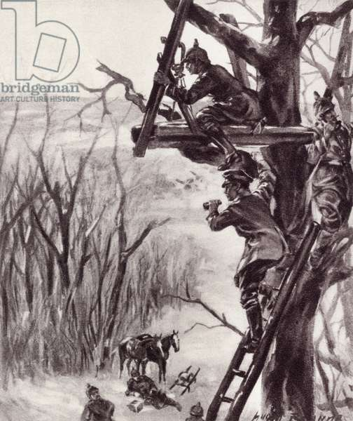 A German artillery observation post during World War I, from 'The Illustrated War News', published in 1915 (litho)
