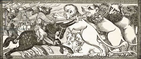 How Alexander did battle with white lions as big as bulls, after a miniature in a 13th century manuscript, from 'Science and Literature in the Middle Ages', by Paul Lacroix, 1878 (litho)