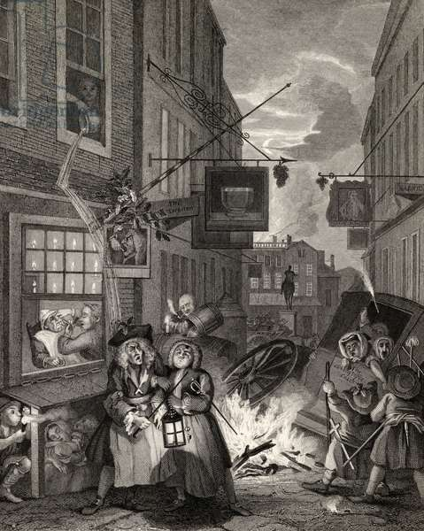 Times of the Day: Night, from 'The Works of William Hogarth', published 1833 (litho)