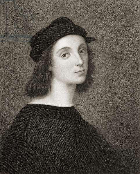 Raphael (Raffaello Sanzio) of Urbino (1483-1520) from 'Gallery of Portraits', published in 1833 (engraving)