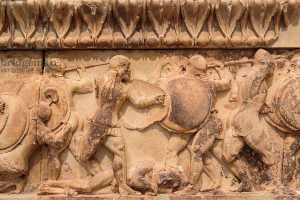Section of the frieze on the north side of the Treasury of the Siphnians, showing the Gigantomachy, the battle between the Olympian gods and the Giants, the sons of Gaia, c.530-480 BC (marble)