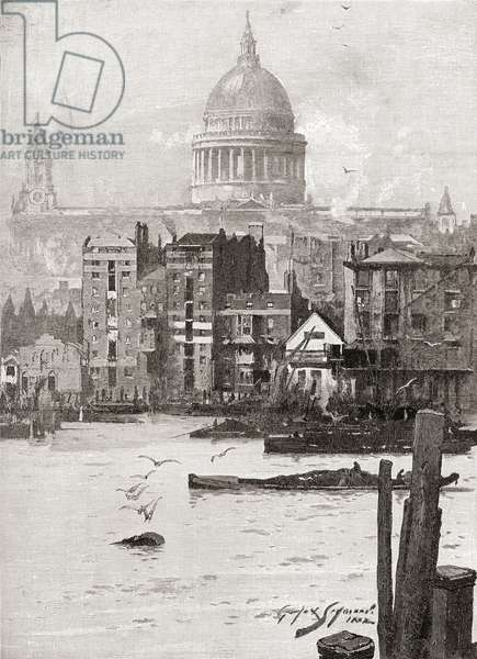 St. Paul's Cathedral from the Surrey shore, London, England in the 19th century.  From Cities of the World, published c.1893.