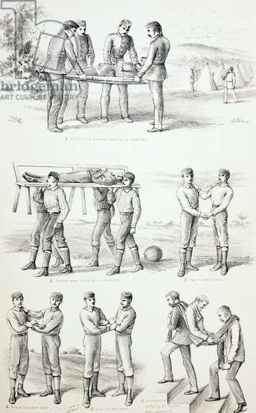 Methods of Carrying Injured Persons, c.1890 (engraving)