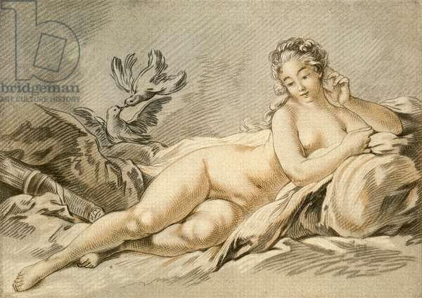 Jeanne Antoinette Poisson, Marquise de Pompadour, aka Madame de Pompadour, portrayed as Venus, 1721 – 1764. Member of the French court and chief mistress of Louis XV.  After François Boucher.  From Illustrierte Sittengeschichte vom Mittelalter bis zur Gegenwart by Eduard Fuchs, published 1909.
