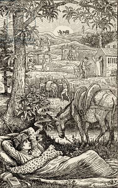 Frontispiece for 'Travels with a Donkey in the Cevennes', by Robert Louis Stevenson (1850-94) printed 1907 (engraving)