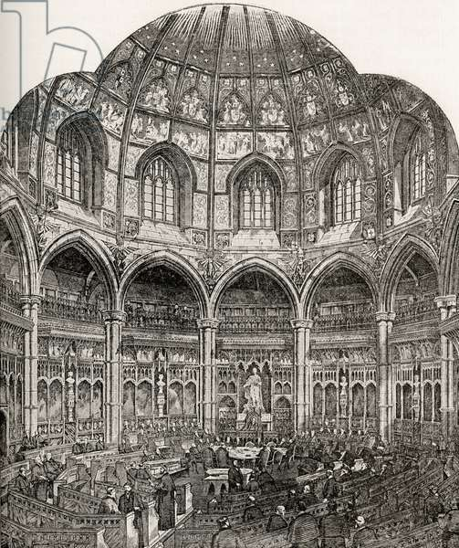 The New Common Council Chamber, Guildhall, from 'London Pictures: Drawn with Pen and Pencil', by Rev. Richard Lovett, published 1890 (litho)