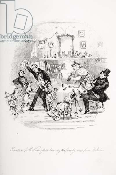 Emotion of Mr. Kenwigs on hearing the family news from Nicholas, illustration from `Nicholas Nickleby' by Charles Dickens (1812-70) published 1839 (litho) (see also 259138)