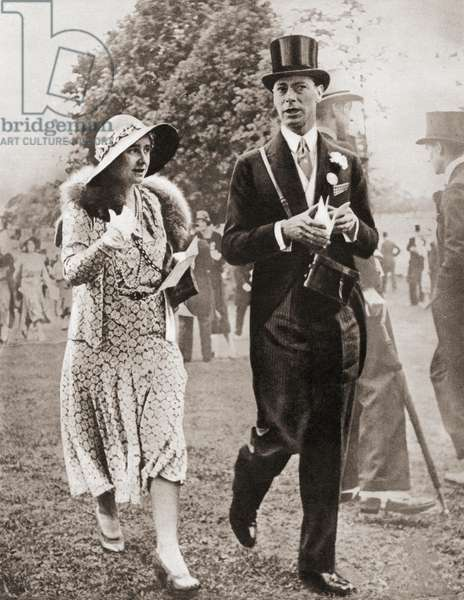 The Duke and Duchess of York at Royal Ascot in 1931, from The Coronation Book of King George VI and Queen Elizabeth, pub.1937