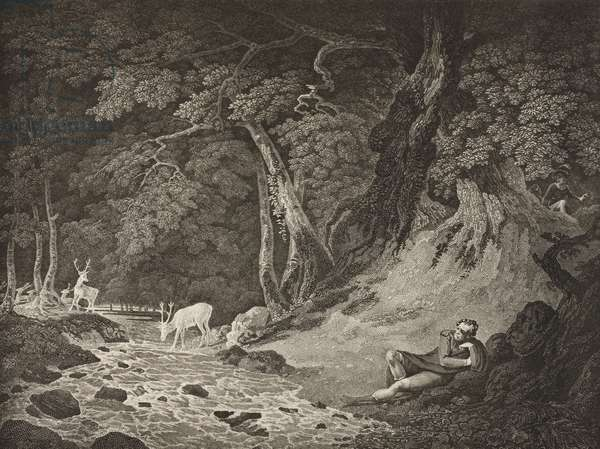 The Forest of Arden, Act II, Scene I, from 'As You Like It', from The Boydell Shakespeare Gallery, published late 19th century (litho)