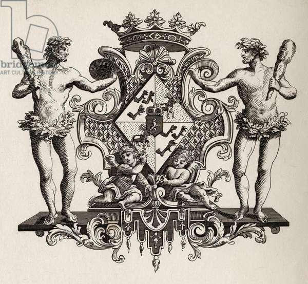 Coat of Arms of the Duchess of Kendal, from 'The Works of Hogarth', published 1833 (litho)