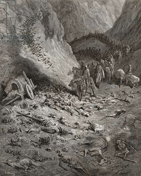 The army of the Second Crusade find the remains of the soldiers of the First Crusade, illustration from 'Bibliotheque des Croisades' by J-F. Michaud, 1877 (litho)