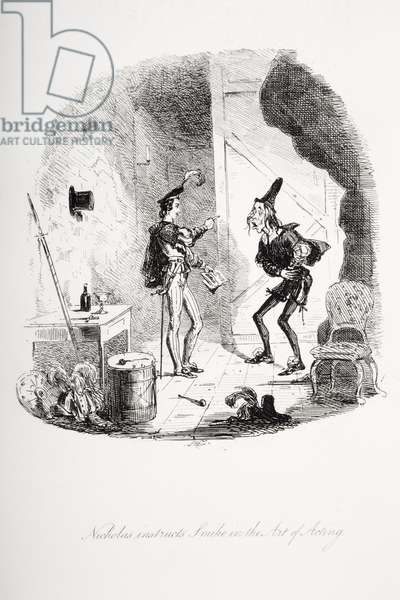 Nicholas instructs Smike in the art of acting, illustration from `Nicholas Nickleby' by Charles Dickens (1812-70) published 1839 (litho)