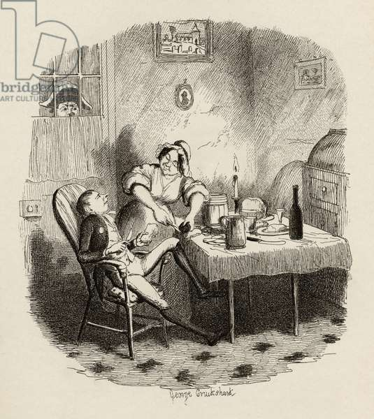 Mr Claypole as he appeared when his master was out, from 'The Adventures of Oliver Twist' by Charles Dickens (1812-70) 1838, published by Chapman & Hall, 1901 (engraving)