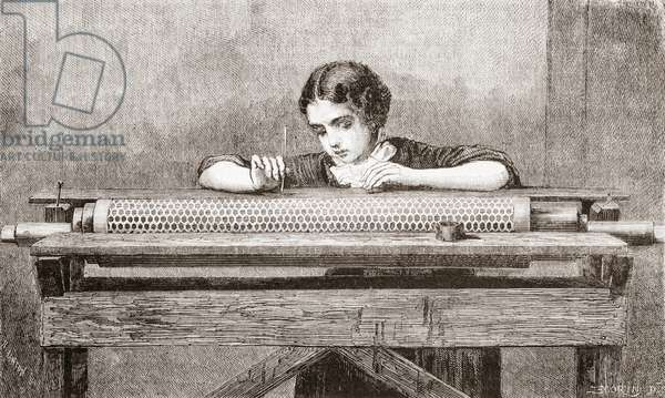 A worker hand-painting reservations on a copper roll intended to be cut into with acid to produce etching effects, from L'Univers Illustre, pub. June 1863