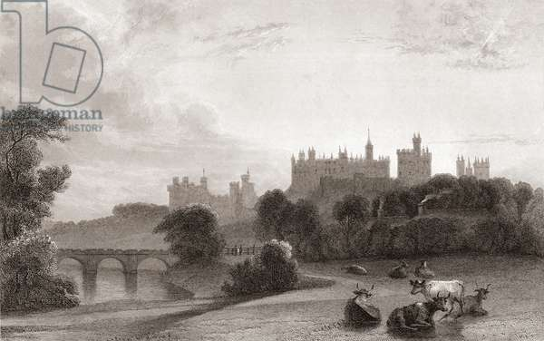 Alnwick Castle, Alnwick, Northumberland, England, in the early 19th century. Used as location in Harry Potter films. From Churton's Portrait and Lanscape Gallery, published 1836.