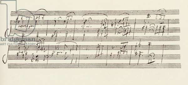 Portion of the Manuscript of Beethoven's Sonata in A, Opus 101 (pen & ink)