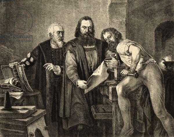 John Faust (c.1400-66) John Gutenberg (1400-68) and Peter Schoeffer (c.1425-1503) (engraving)