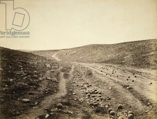 The Valley of Death, after the Charge of the Light Brigade, 1855 (sepia photo)
