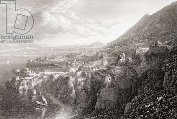 """Gibraltar from above Camp Bay. From the original painting by Lt. Col. Batty F.R.S., from the book """"Select Views of some of the Principal Cities of Europe"""" published London 1832. Engraved by J.C.Varrall."""