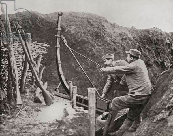 French soldiers using a catapult for flinging bombs during World War One, from 'The Illustrated War News', 1915 (b/w photo)