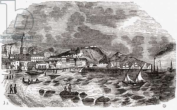 City and Port of Malaga, Spain, mid 1800s (engraving)